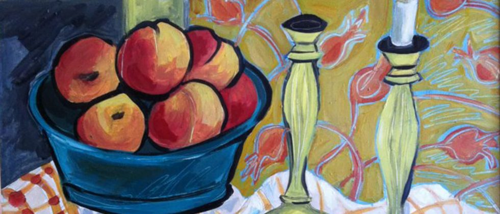 dramatic painting of fruits in a bowl