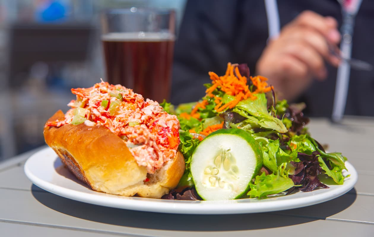 lobster roll and salad in Portland