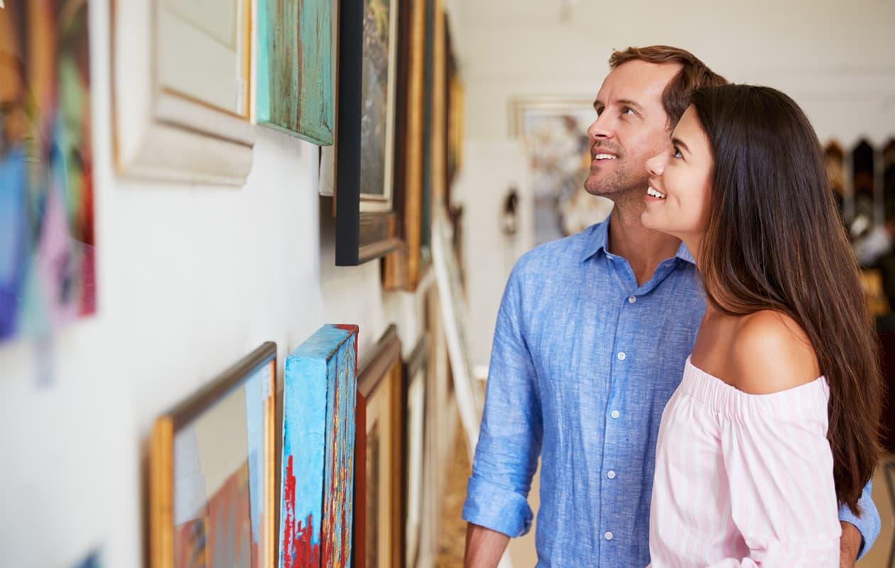 couple in art gallery in Portland Maine