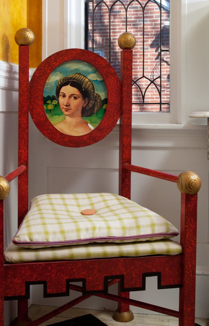 artistic chair at Portland Maine inn
