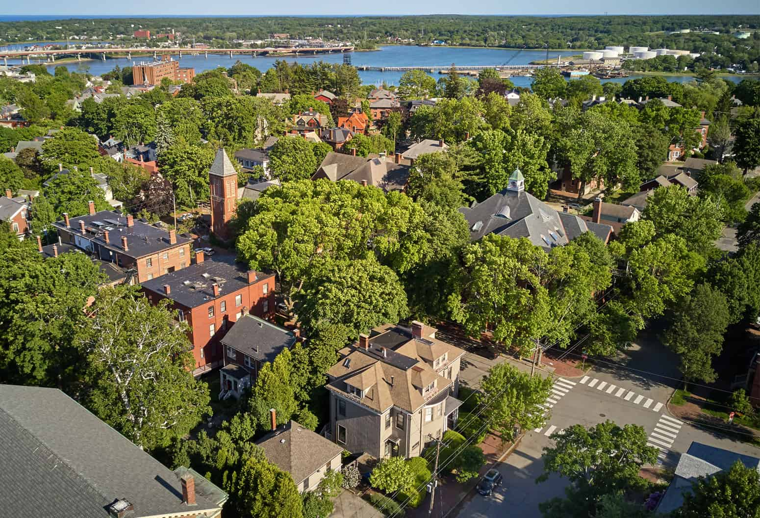 aerial view of Pomegranate Inn and Portland Maine