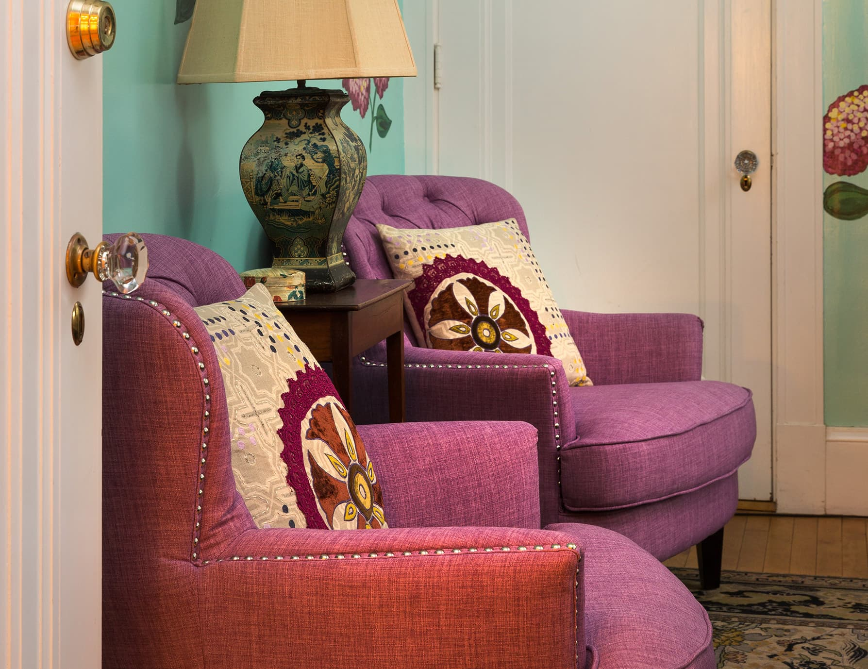 Hydrangea Room chairs at our Boutique Hotel in Portland, ME